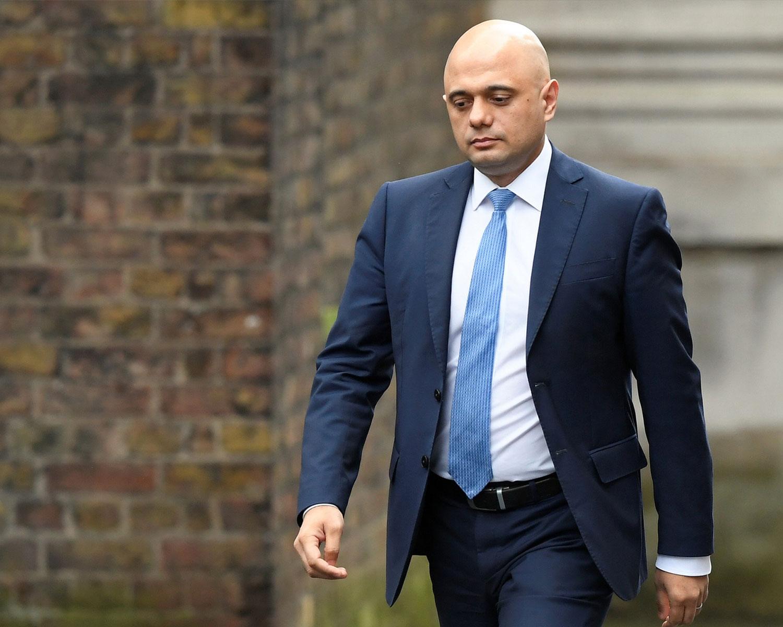 Sajid Javid arrives at Downing Street in London