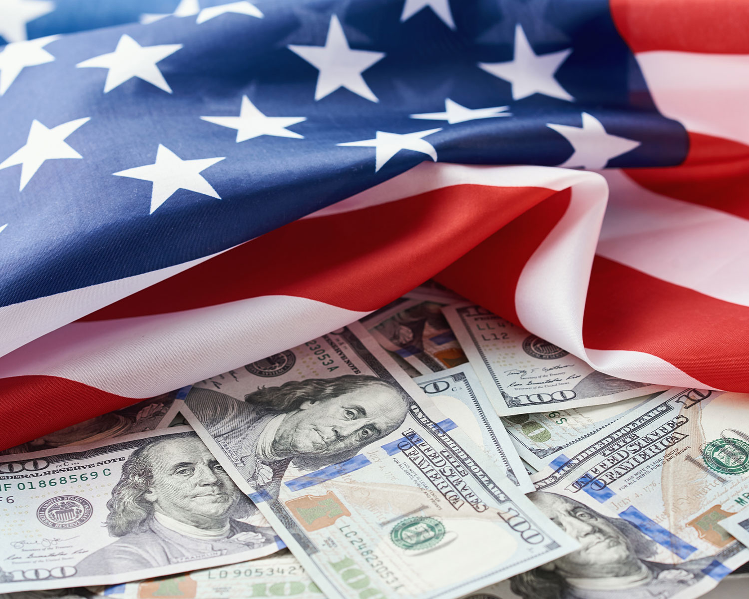 USA national flag and the dollar bills