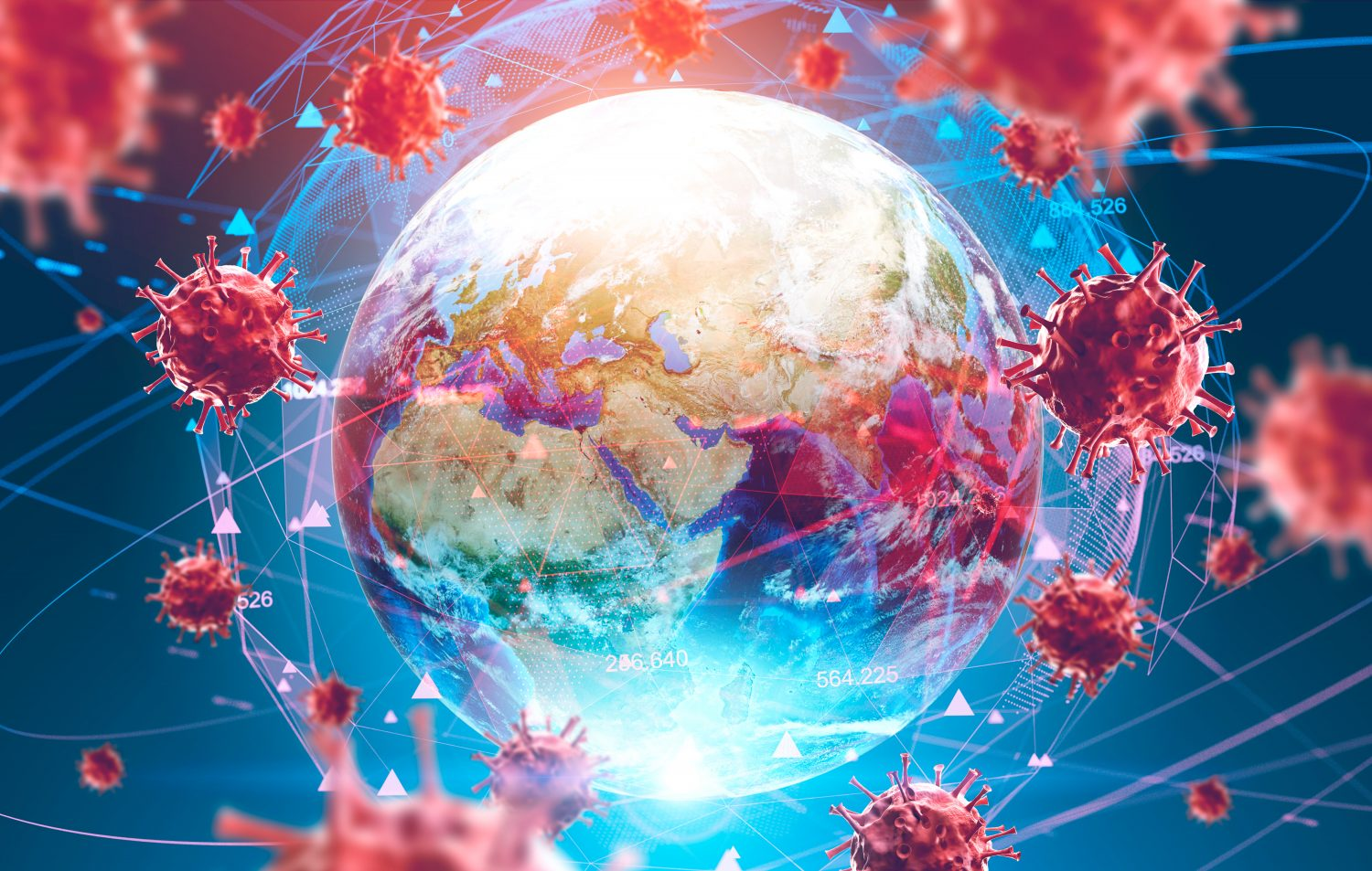 coronavirus impact on markets - Ncov spreading concept, Earth and virus models